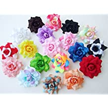 1.75 ICRAFY 24 Artificial Flowers Heads Fabric Floral Supplies Wholesale Lot for Wedding Flowers Accessories Make Bridal Hair Clips Headbands Dress Silk Dark Red Roses Flower Head