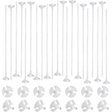 Caydo 100 Pcs White Balloon Sticks Holders with Cups for Wedding Party Decor