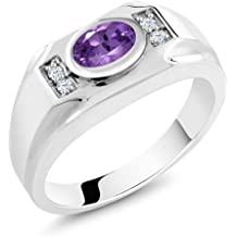 Gem Stone King 4.08 Ct Last Dance Pink Mystic Quartz White Created Sapphire 18K Yellow Gold Plated Silver Mens Ring