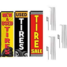 NEW /& USED TIRES WINDLESS BANNER FLAG POLE MOUNT KIT Advertising Feather Sign