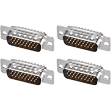 uxcell D-sub Connector Female Socket 25-pin 2-Row Right Angle Port Terminal Breakout for Mechanical Equipment Black Pack of 8