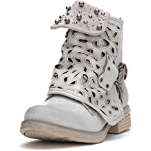 1ab6f381a578 LALA IKAI Women Motorcycle Boots Combat Ankle Combat Boots with Studded Low  Block Heels Biker Shoes