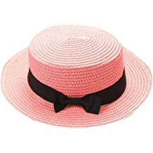 Sunshade Straw Cap Small Hat,Flat-top Solid Color Relaxed Adjustable Beige Beach Sunhat DORIC 2019 Parent-Child Hats