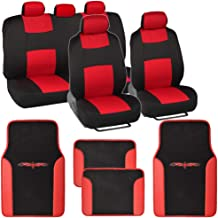 BDK Stitched Neoprene Car Seat Covers Comfortable Polyester Protection Red Accent Stitching