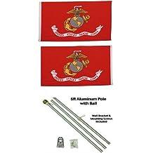 AES 3x5 3x5 USA American w//State of Texas Flag w//Two 6 White Flagpole Pole Kits Ball Topper