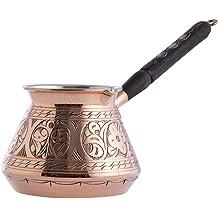 Copperbull Plus /épais massif martel/é en cuivre Pot de caf/é turc grec arabe cuisini/ère /à caf/é Cezve Ibrik Briki avec poign/ée en bois XLarge//–/425,2/gr /épais 2/mm * Nouveau