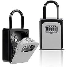 1pc Key Lock Box Combination Lock Box avec le code pour Key House Combo stockage Porte Locker Argent Noir