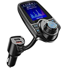 USB Drive TF Card KM34 FM Transmitter Nulaxy 1.8 Color Screen Bluetooth FM Transmitter Wireless in-Car Radio Adapter w//Car Battery Voltage Reading AUX EQ Mode Grey Handsfree Calling