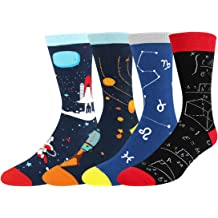 HAPPYPOP Mens Novelty Funny Crew Socks Math Alien Corgi Space Pattern Gifts