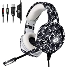 cee1a429f50 ONIKUMA Xbox One Gaming Headset, PS4 Headset with 7.1 Surround Sound, Noise  Canceling Over-Ear Headphones with Mic, Soft Memory Earmuff for .