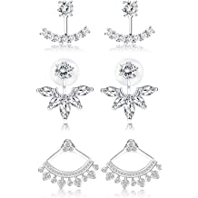 925 Sterling Silver Women/'s Earring Jackets for 7.00MM Round Shape Studs