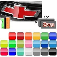 EZAUTOWRAP Free Tool Kit 2Pcs 5x10 Chevy Emblem Bowtie Gloss Teal Blue Vinyl Wrap Sticker Decal Film Overlay Sheet