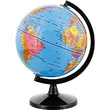 Multi-Gemstone 90mm Desktop Globe in Navy Blue Pearl Gold Tone Base Free S/&H