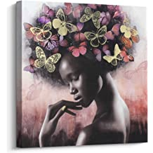 Pi Art Canvas Wall Art Abstract Sexy Beauty With Butterflies Gold And Red Wall Decor African