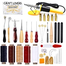 50 Pieces Leather Working Tools and Supplies with Leather Tool Box Prong Punch