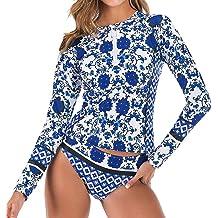 Bikini Bathing Suit DIOMOR Womens Fashion Long Sleeve Floral Surfing Suit Rashguard UV Sun Protection Swimsuit UPF 50