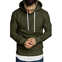 DIOMOR Casual Letter Print Pullover Pure Color Hoodie for Men Fashion Hooded Tops with Kanga Pocket Sweatshirt