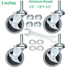 DICASAL Double Brakes Black PU Imperial Inch Screw Thread 360/° Swivel Caster Wheels for Furture Carts DIY Stands 4 Pack Renewed 1.5 Inch Stem Casters