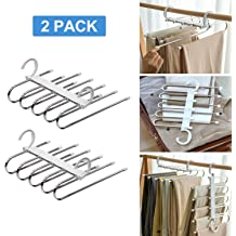 for Dress,Jeans Scarfs Ties Multi Clothes Cascading 4 Pack Towels 80/% Space Saver, FFHL Pants Hangers S Type,5 Layers Non Slip with Silicone Stainless Steel Rack 14.17 x 14.96ins Slacks