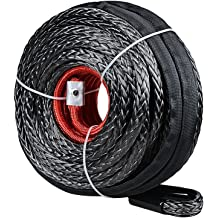 RED Steel Hook for Jeep Accessories ATV UTV KFI Truck Boat Ramsey Astra Depot USA SK75 Synthetic Winch Line Rope Recovery Cable 22000LBs Protective Sleeve 92ft x 1//2