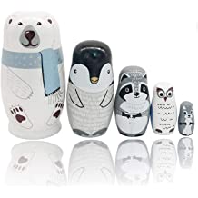 5Pcs Russian Nesting Dolls Wooden Bear Owl Rabbit Pattern Matryoshka Dolls L