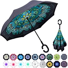 Cute Lattice Unicorn Double Layer Windproof UV Protection Reverse Umbrella With C-Shaped Handle Upside-Down Inverted Umbrella For Car Rain Outdoor