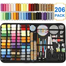 Tape Measure Beginner DIY HuaQi Sewing Kit 206pack Sewing Accessories and Supplies with 42 XL Thread Spools Adults for Traveler Emergency Thimble etc XL-206pack Scissors Sewing Needles