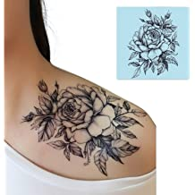3d3e75dc0 DaLin 4 Sheets Sexy Temporary Tattoos for Men Women Flowers Collection  (Black Rose)