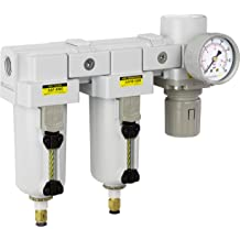 Manual Drain Coalescing Filter /& Air Pressure Regulator Combo 1//4 NPT High Flow Poly Bowl with Guard Embedded Gauge PneumaticPlus PPC3C-N02G 3 Stage Air Drying System- Particulate Air Filter