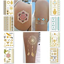 f6fa71ca3 Metallic Temporary Tattoos for Women Teens Girls - 8 Sheets Gold Silver  Temporary Tattoos Glitter Shimmer Designs Jewelry Tattoos - 100+ Color .