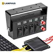LAMPHUS SWBX42 LED Backlit Switch Box [4X 15A ON/Off Rocker Switches] on pet harness, amp bypass harness, nakamichi harness, suspension harness, dog harness, fall protection harness, obd0 to obd1 conversion harness, pony harness, maxi-seal harness, safety harness, engine harness, cable harness, alpine stereo harness, battery harness, oxygen sensor extension harness, radio harness, electrical harness,