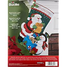 Bucilla 18-Inch Christmas Stocking Felt Applique Kit 86658 Santa and Snowman